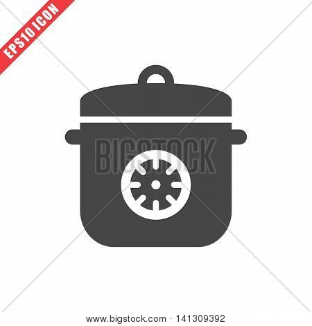 Vector illustration of multicooker icon on white background. Simple black kitchenware image