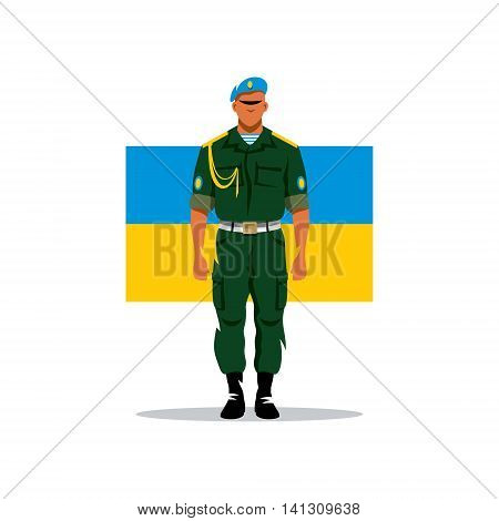 Soldier Airborne Forces of Ukraine. Isolated on white background.