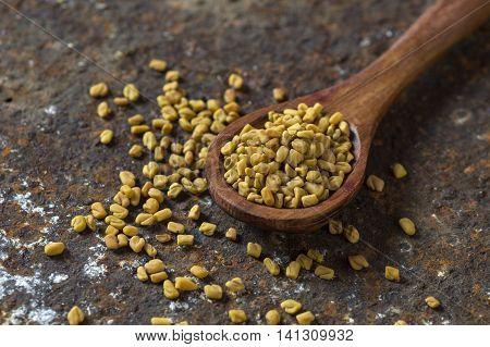 Fenugreek seeds in wooden spoon on texture background