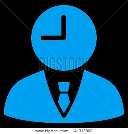 Time Manager vector icon. Style is flat symbol, blue color, rounded angles, black background.