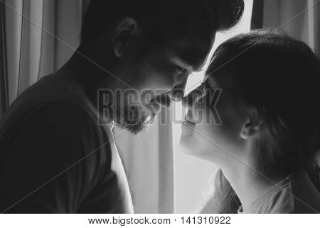 happiness and romantic scene of love asian couples partners making eye contact