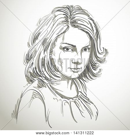 Vector art drawing portrait of gorgeous romantic girl isolated on white.