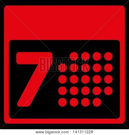 Binder Week vector icon. Style is flat symbol, red color, rounded angles, black background.