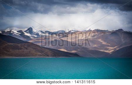 A holy lake, Yamdrok, in Gyantse, Tibet