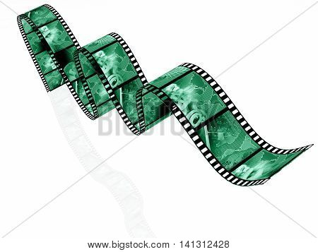 Film roll with green pictures (business) on white, 3D illustration.