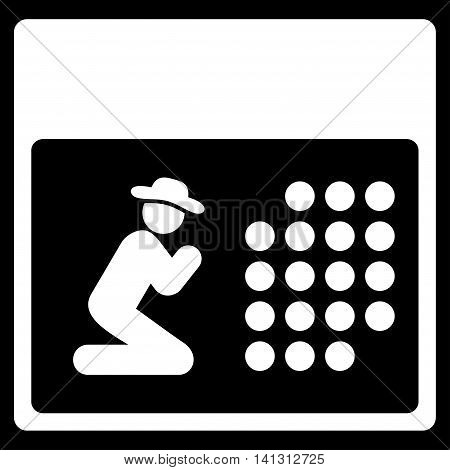 Pray Organizer vector icon. Style is flat symbol, white color, rounded angles, black background.