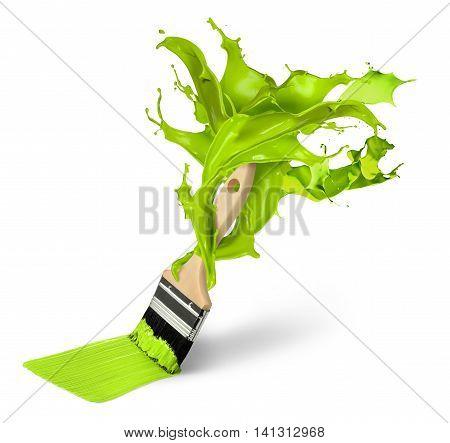 Green paint colour splash brush isolated home improvement concept