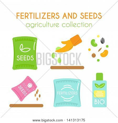 Vector fertilizer illustrations. Seeds pack design. Bottle of bio fertilizers. Corn and grain elements. Hand sowing flower seed. Flat argiculture collection.