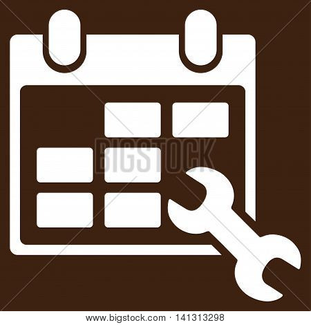 Configure Timetable vector icon. Style is flat symbol, white color, rounded angles, brown background.