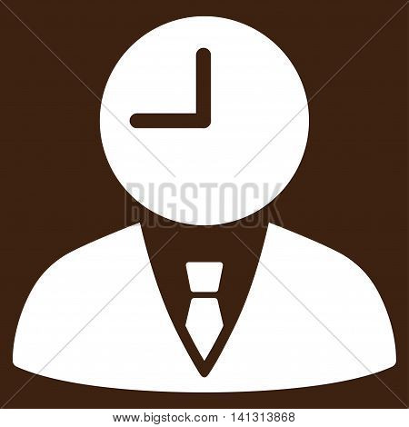 Time Manager vector icon. Style is flat symbol, white color, rounded angles, brown background.
