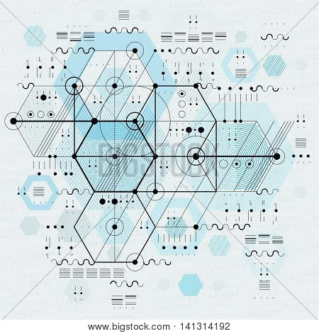 Technical drawing with dashed lines and geometric shapes vector backdrop