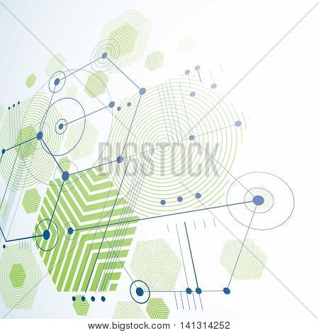 3d vector Bauhaus abstract green background made with grid and overlapping simple geometric elements hexagons and lines.