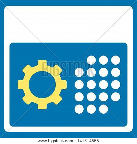 Service Syllabus vector icon. Style is bicolor flat symbol, yellow and white colors, rounded angles, blue background.