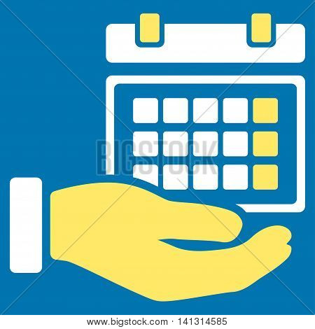 Service Timetable vector icon. Style is bicolor flat symbol, yellow and white colors, rounded angles, blue background.