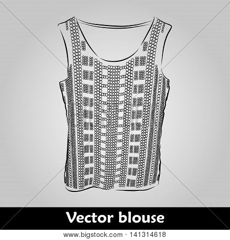 Beautiful top, shirt, summer blouse on grey background