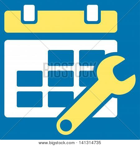 Timetable Tuning vector icon. Style is bicolor flat symbol, yellow and white colors, rounded angles, blue background.
