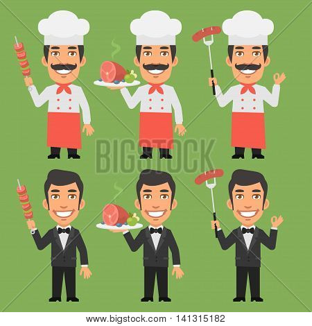 Vector Illustration, Chef and Waiter Holding Meat Dishes, Format EPS 8