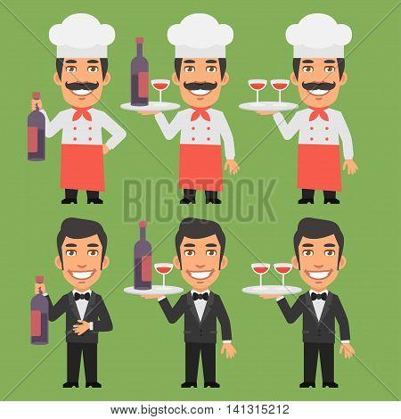Vector Illustration, Chef and Waiter Holding Wine Bottle, Format EPS 8