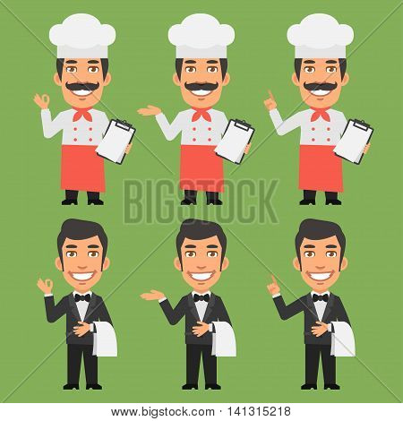 Vector Illustration, Chef and Waiter Shows and Indicates, Format EPS 8
