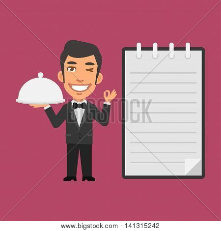 Vector Illustration, Waiter Holding Tray of Food, Format EPS 8