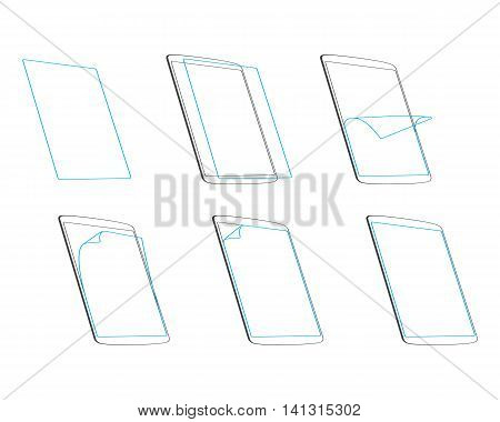 Set apply screen protector outline contour icons outline vector illustration EPS