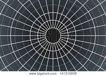 Illustration of abstract white cobweb on dark background.