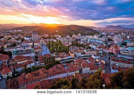 Sunset above Ljubljana aerial view capital of Slovenia