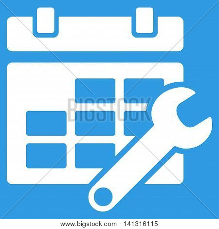 Timetable Tools vector icon. Style is flat symbol, white color, rounded angles, blue background.