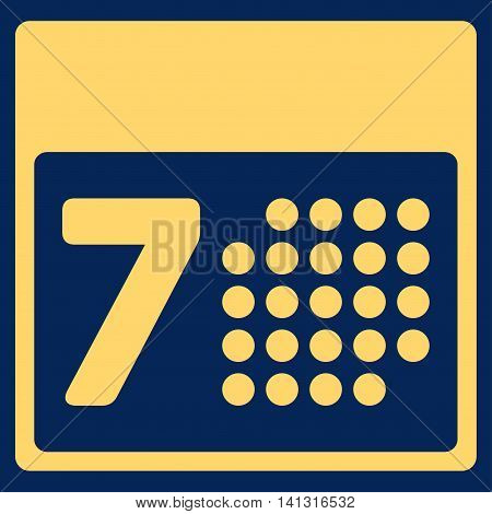 Organizer Week vector icon. Style is flat symbol, yellow color, rounded angles, blue background.