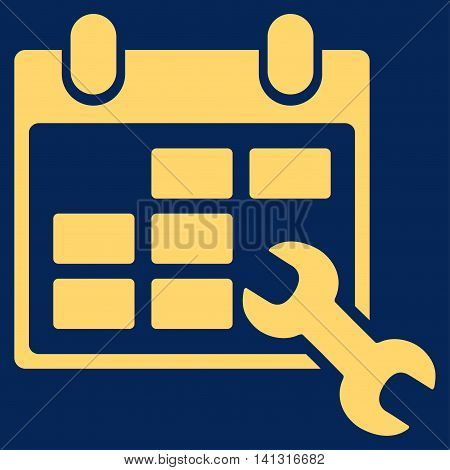 Configure Timetable vector icon. Style is flat symbol, yellow color, rounded angles, blue background.