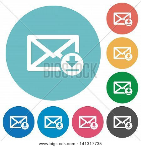 Flat receive mail icon set on round color background.