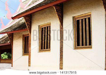 Vintage window or old window background, Exterior window for vintage window of home, Architecture in temple of Thailand country, Beautiful window which very old and waited for repair.
