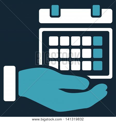 Service Timetable vector icon. Style is bicolor flat symbol, blue and white colors, rounded angles, dark blue background.