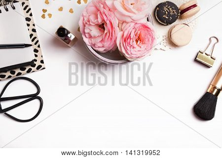 Cute Feminine Stuff On White Background, Top View