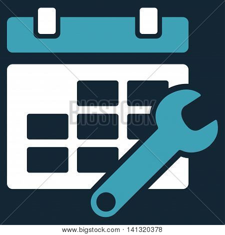 Timetable Options vector icon. Style is bicolor flat symbol, blue and white colors, rounded angles, dark blue background.