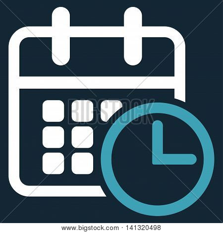 Timetable vector icon. Style is bicolor flat symbol, blue and white colors, rounded angles, dark blue background.