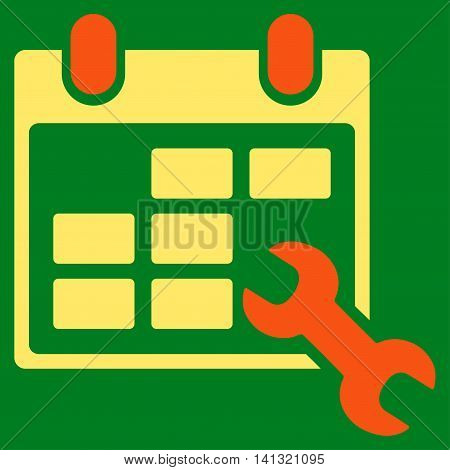 Configure Timetable vector icon. Style is bicolor flat symbol, orange and yellow colors, rounded angles, green background.