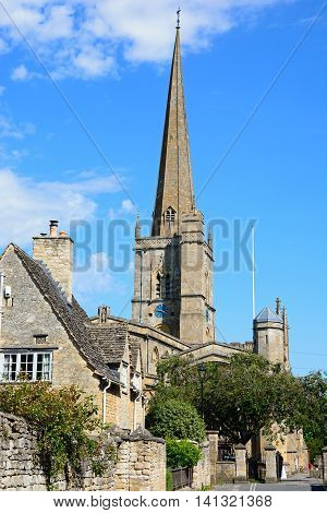 BURFORD, UNITED KINGDOM - JULY 20, 2016 - View of St John the Baptist church Burford Oxfordshire England UK Western Europe, July 20, 2016.