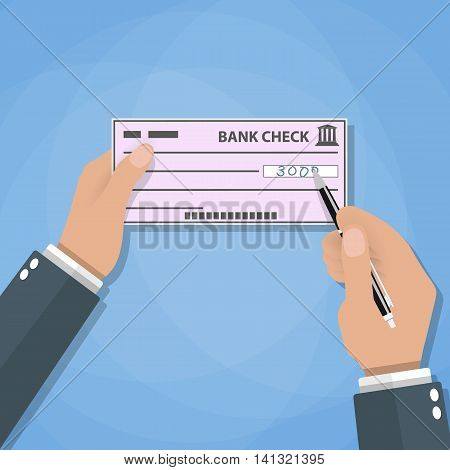 Man hands with pen writing check. bank check payments. vector illustration in flat style on blue background