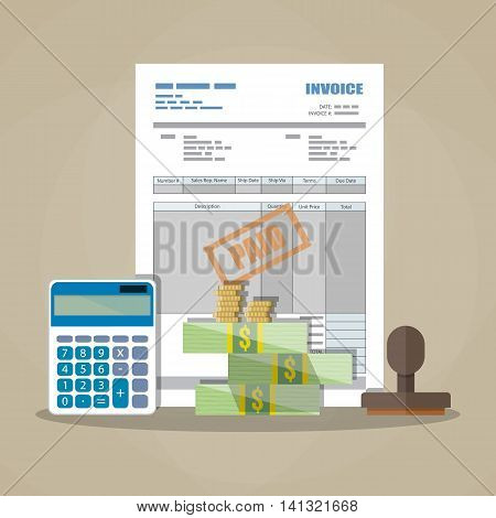 paper invoice form, paid stamp, cash money and coins, calculator. tax. receipt. bill. vector illustration in flat style on brown background
