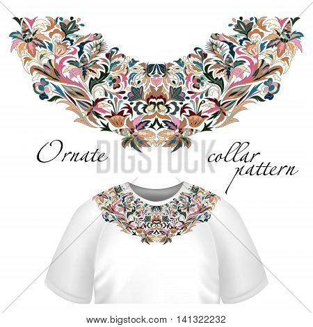 Neck print vector floral design. Fashion colorful collar. Vector illustration. Blue pink brown
