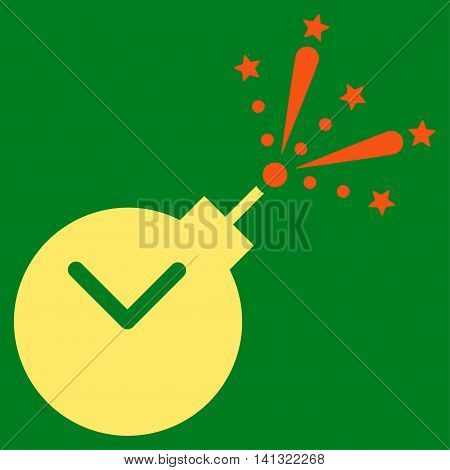 Time Fireworks Charge vector icon. Style is bicolor flat symbol, orange and yellow colors, rounded angles, green background.