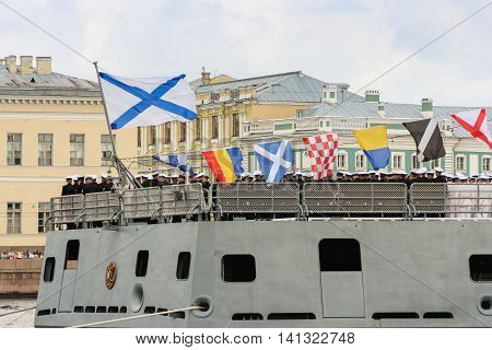 St. Petersburg, Russia - 31 July, Signal flags on the stern of the ship, 31 July, 2016. Festive parade of warships on the Neva River in St. Petersburg.