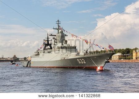 St. Petersburg, Russia - 31 July, Military ship on parade on the river, 31 July, 2016. Festive parade of warships on the Neva River in St. Petersburg.