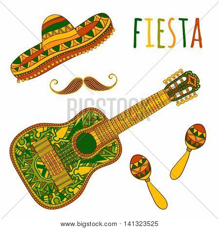 Mexican Fiesta Party. Maracas, sombrero, mustache and guitar. Design concept for invitation, banner, card, t-shirt, print, poster. Isolated elements. Hand drawn vector illustration