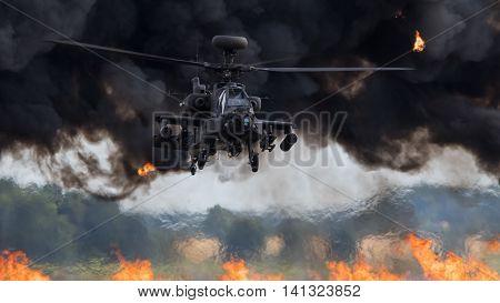 A British Army AgustaWestland Apache AH.1 Longbow displaying at RAF Marham Friends & Families Day on 21 July 2016 with pyrotechnics.