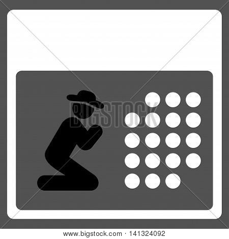 Pray Binder vector icon. Style is bicolor flat symbol, black and white colors, rounded angles, gray background.