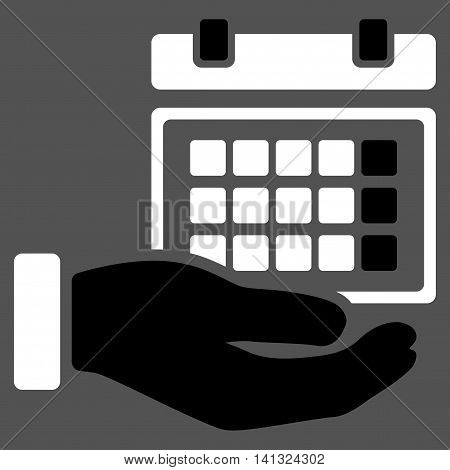 Service Timetable vector icon. Style is bicolor flat symbol, black and white colors, rounded angles, gray background.