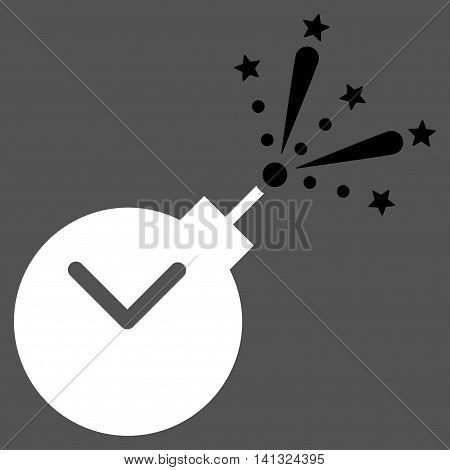 Time Fireworks Charge vector icon. Style is bicolor flat symbol, black and white colors, rounded angles, gray background.