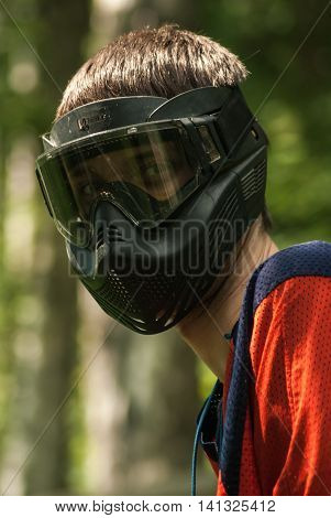 protective helmet mask in the game of paint ball necessary for the protection of eyes and face passion and interests